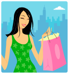 Graphic of a hip young woman with long black hair, looking cheerful, wearing a sleeveless green print dress, and carrying a pink shopping bag